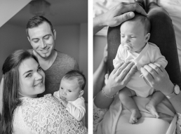 Familie mit Baby bei Fotoshooting Zuhause