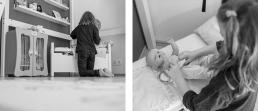 Mädchen mit Puppe bei Fotoshooting Zuhause