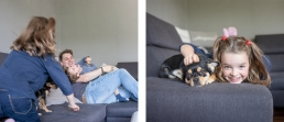 Familie auf Couch bei Fotoshooting Zuhause