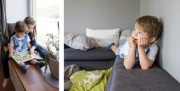 Geschwister bei Fotoshooting Zuhause