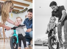 Eltern mit Tochter am Fahrrad bei Homestory Fotoshooting